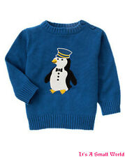 Gymboree North Pole Express Penguin Conductor Blue Sweater 3 6 12 18 24 mo NWT