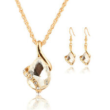 Fashion Jewelry Gold Plated Water Drop Crystal Necklace Matching Earrings Sets
