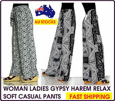 LADIES WOMEN WOMAN COMFY GYPSY HAREM CASUAL RELAX SOFT STRETCH PANTS CLOTHES LEG