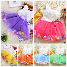 Toddler Baby Kid Girl Princess Party Tutu Lace Bow Flower Dresses Rose Petal NEW