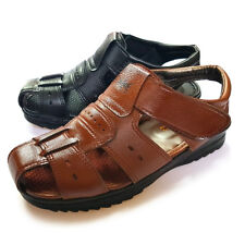 Korean Genuine Leather Mens Summer Cool Sandals Black Brown for Drivers Freeship