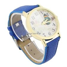 Round Dial Butterfly Pattern Women Lady PU Leather Band Quartz Wrist Watch GS
