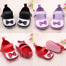 Infant Girls Baby Polka Dots Trainers Shoes Soft Sole Bowknot Prewalker Hot Sale