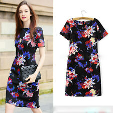 New Europe Style Womens cheongsam Dress printing Slim Summer bodycon party dress