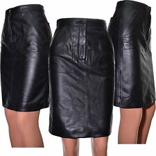 Leather skirt by boutique black stitch detail high waist lined UK size 6 12