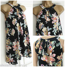 NEW EX NEW LOOK CAMEO ROSE BLACK PINK GREEN FLORAL TUNIC MINI DRESS SIZE 8 - 16