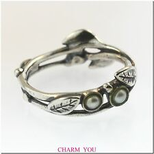 AUTHENTIC TROLLBEADS PEARLS AND LEAVES RING STERLING SILVER