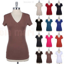 Solid Casual Short Sleeve V Neck Cotton Basic Tee Shirt Top Easy Wear Spandex