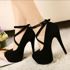 New Womens Sexy Ankle Strappy High Heel Platform Pumps Court Party Shoes Plus Sz