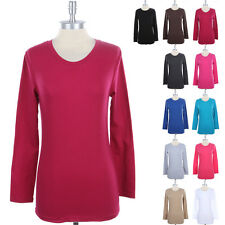 Womens Cotton Basic Crew Neck Long Sleeve T Shirt Solid Casual Top S M L