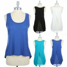 Solid Sleeveless Scoop Neck Tank Top with Open Tulip Back and Contrast S M L