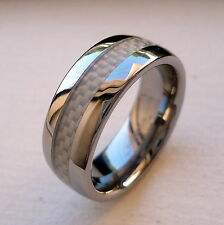MEN'S TUNGSTEN CARBIDE WEDDING BAND RING WITH WHITE CARBON FIBER