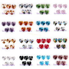 10/30pcs Crystal Heart Faceted Spacer Glass Beads 14mm DIY Jewelry Findings