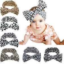 Baby Girls Infant Elastic Bow Leopard Animal Print Turban Hair band Headband