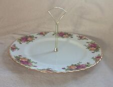 ROYAL ALBERT OLD COUNTRY ROSES ENGLAND 1 TIER CAKE/SANDWICH PLATE EXCELLENT