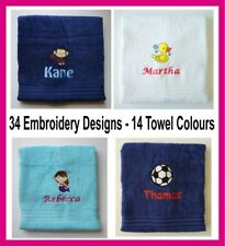 Personalised Children Kids Bath Towels Any Name Design Embroidered Gift Swimming
