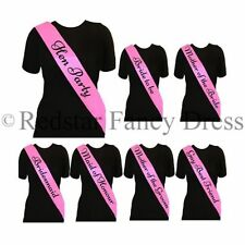DELUXE PINK & BLACK ELEGANT HEN PARTY SASH FANCY DRESS HEN NIGHT LADIES SASHES