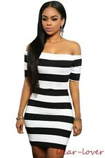 Striped Off Shoulder Mini Dress Two Color sexy Women Evening Party Dress
