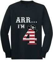 Arr I'm 4 Pirate Birthday Party Four Years Old Toddler/Kids Long sleeve T-Shirt