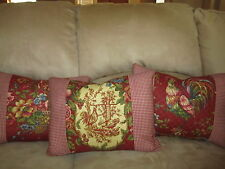 Waverly Pillow Saison Printemps Bordeaux Red Yellow Rooster French Country Toile