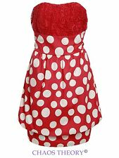 Womens Ladies Polka Dot Bubble Dress Boob Tube Retro Vintage Lace Summer
