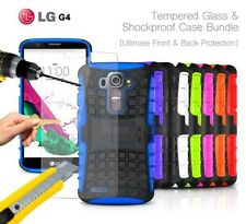 LG G4 Dual SIM LTE - Shockproof Strong Silicone Stand Case & Tempered GLASS