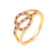 Delicate 18K Yellow Gold Plated Colorful Round CZ Hot Promise Fine Band Ring