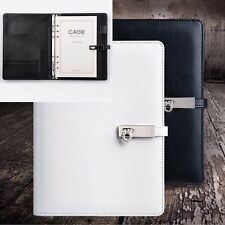 A5 Loose Leaf Leather Hasp Notebook Diary Travel Plan Calendar Schedule + Pen #Y