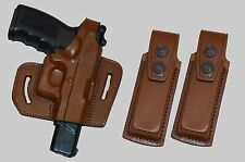 K340291 Leather Pancake Holster GLOCK 17 & GLOCK 19 with two single mag pouches
