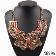 pendant gold chain vintage alloy chunky statement colorful necklace for women