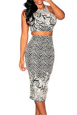 Print Two Pieces Black White Skirt Set LC6958 women cropped top midi skirt