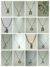 CLEAR CRYSTAL ALPHABET LETTER INITIAL PENDANT NECKLACE + STERLING SILVER CHAIN