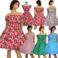 Women 50's 60's Vintage Hepburn Retro Dress Rockabilly Swing Ball Gown Dresses
