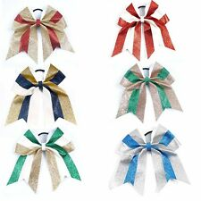 """3pcs 7"""" Shimmer Large Cheer Bows Big Sparkly Hair Bows for Cheerleading Girls"""