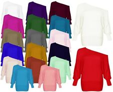 Women's  Off Shoulder Batwing Long Sleeves Slouchy Baggy T-Shirt Top Size 8-26