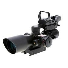 Tactical Rifle Scope 2.5-10X40 w/ Red Laser & Holographic Green / Red Dot Sight
