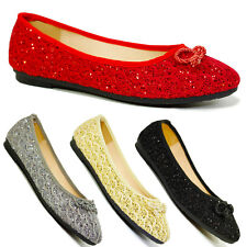 NEW WOMENS FLAT PUMPS GIRLS GLITTER BALLET BALLERINA DOLLY BRIDAL SHOES SIZE