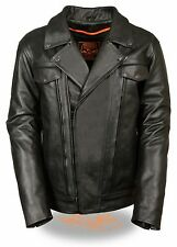 Mens Leather Vented Utility Pocket Motorcycle Jacket w/ 2 Inside Gun Pockets