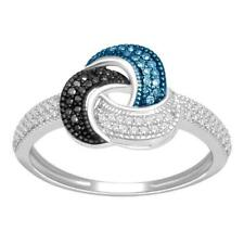 0.25 Carat Blue Black and White Diamond Ring 925 Sterling Silver