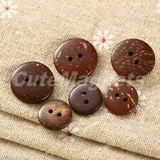 100Pcs Coconut Shell Round 2 Holes Buttons Scrapbooking Clothes Sewing Craft