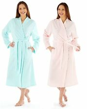 Womens Embroidered Soft Fleece Dressing Gown Wrap Robe MED25 Aqua Pink