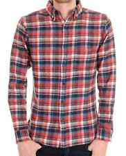 Mens 60s 70s Mod Brushed Flannel Red/White/Blue  Check Plaid Lumber Shirt