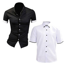 Summer Mens Dress Shirts Plaid Hit Color Edging Lined with Stripes Slim Fit BF