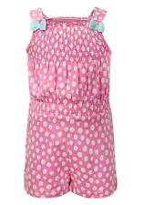 NEW Girls Cute Pink & White Spotted Design Vest & Shorts Playsuit Ages 12m-6y