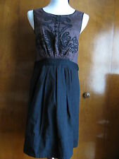 Anthropologie Leifnotes women's brown black cotton lined dress Size 2 6 8 NWT