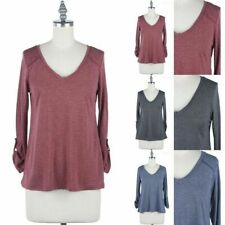 Solid 3/4 Sleeve Roll Up Sleeve V Neck Quilted Shoulders Top Casual Poly S M L