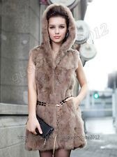 100% Real Genuine Rabbit Fur Long Waistcoat Vest Gilet Coat Hoody New 5 Colors