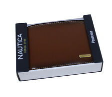 NAUTICA PASSCASE BILLFOLD MEN'S ID CREDIT CARD WALLET LEATHER FREE SHIPPING#6260