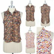 Floral Print Sheer Chiffon Sleeveless Button Down Shirt Pocket Back Slit S M L