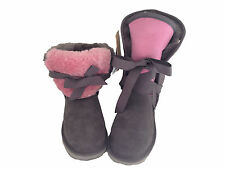 Australian Made Genuine sheepskin Lady UGG Boots Front with Ribbon Grey/Pink